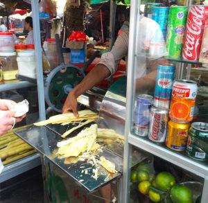 sugar cane juice at kep market